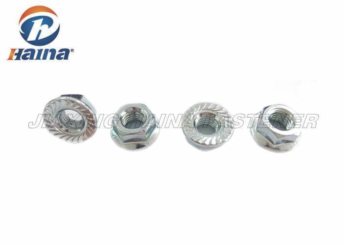 hex flange nuts carbon steel   zinc plated serrated flange