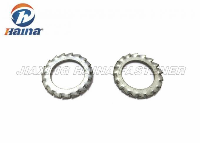 Bright Plated External Tooth Lock Washer , Stainless Steel Lock Washers For Machines