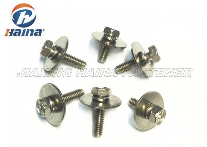 Hex Head Combination Stainless Steel Machine Screws A2 A4 Grade With Big Flat Washer