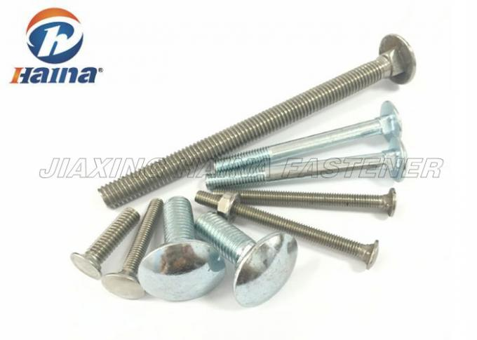 DIN603 Carbon Steel Zinc Plated Round Head Square Neck Bolts , Mushroon Bolt